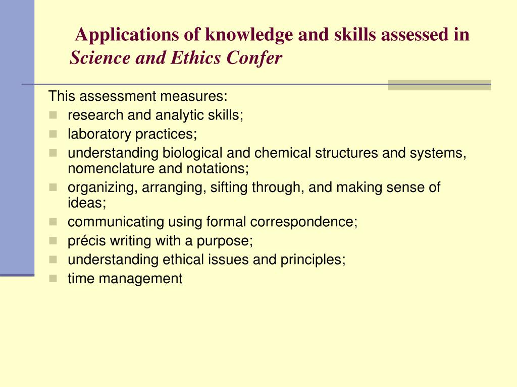 Applications of knowledge and skills assessed in