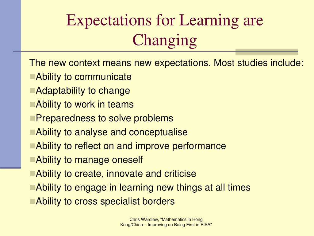 Expectations for Learning are Changing