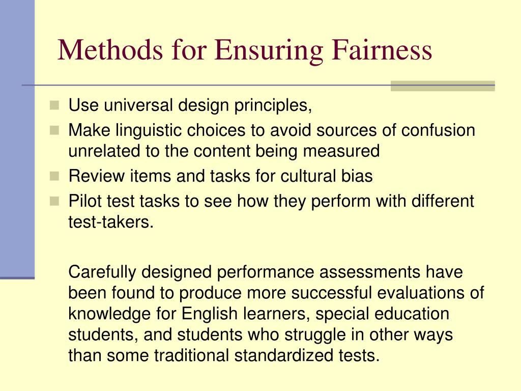 Methods for Ensuring Fairness