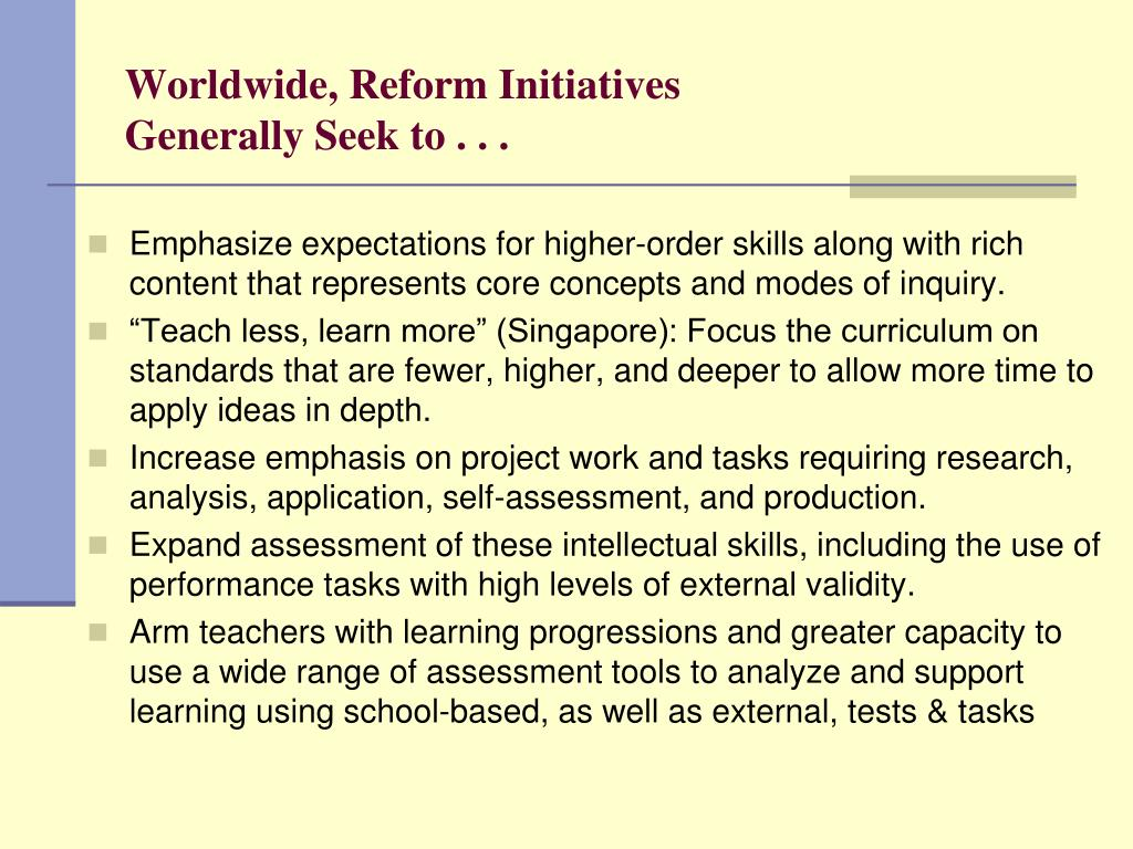 Worldwide, Reform Initiatives
