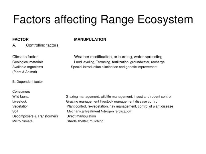 Factors affecting Range Ecosystem