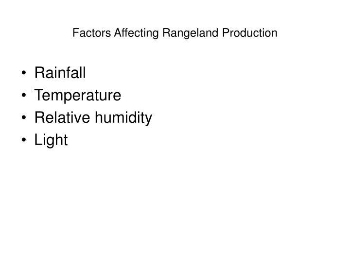 Factors Affecting Rangeland Production