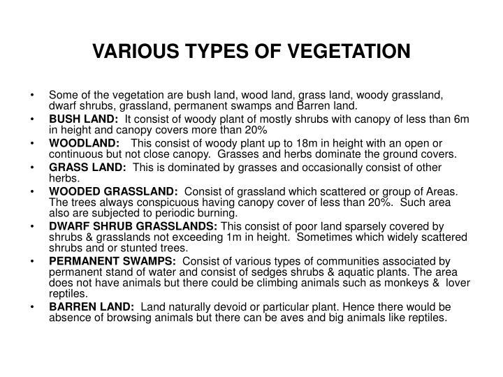 VARIOUS TYPES OF VEGETATION