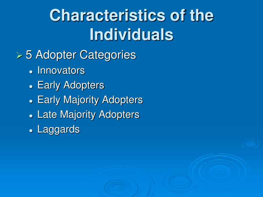 Characteristics of the Individuals