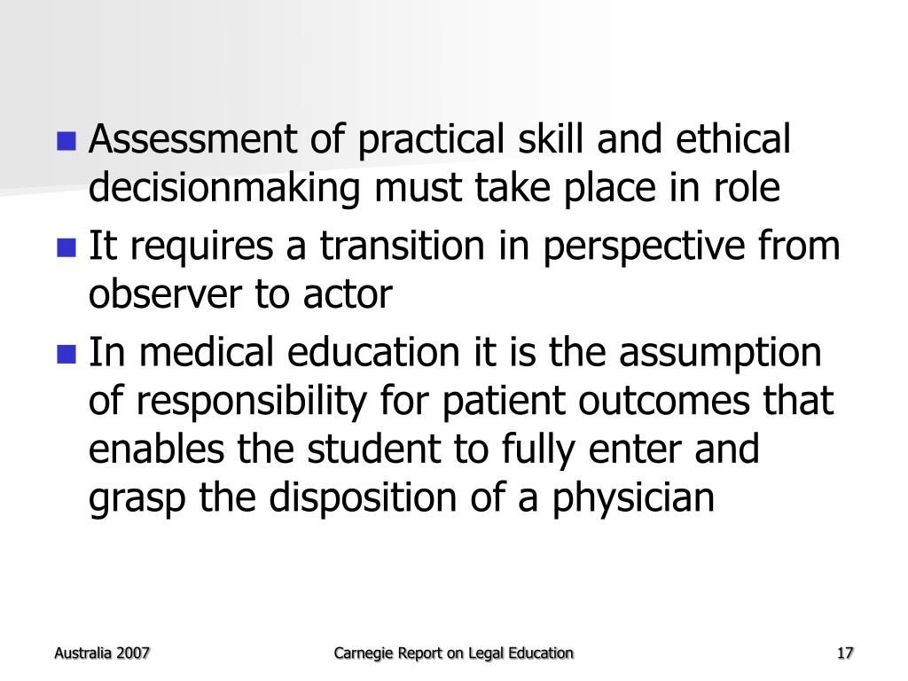 Assessment of practical skill and ethical decisionmaking must take place in role