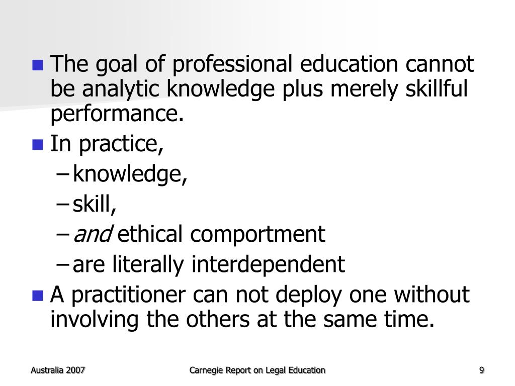 The goal of professional education cannot be analytic knowledge plus merely skillful performance.