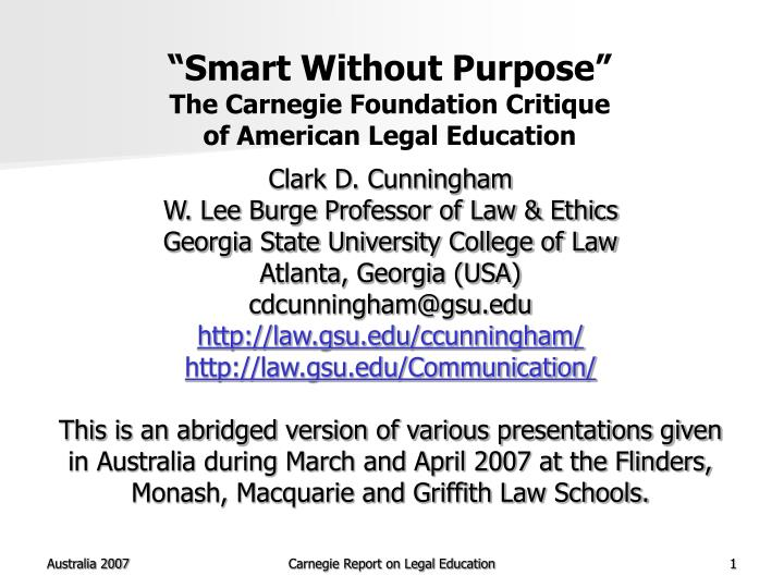 Smart without purpose the carnegie foundation critique of american legal education