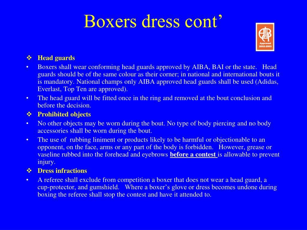 Boxers dress cont'
