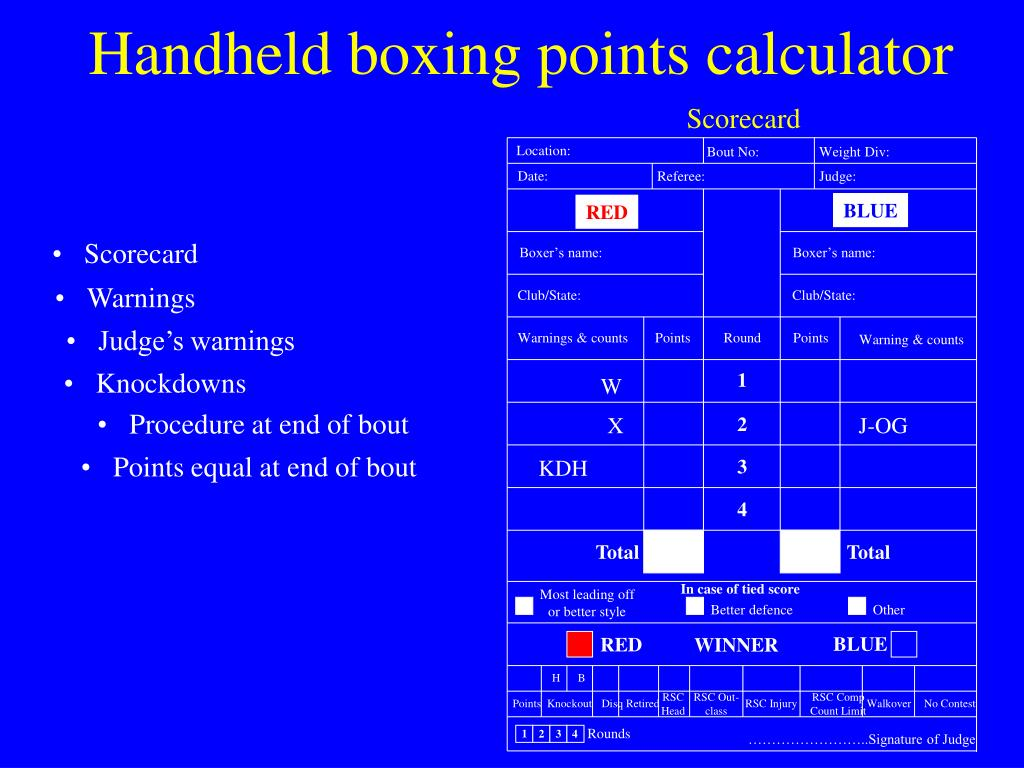 Handheld boxing points calculator