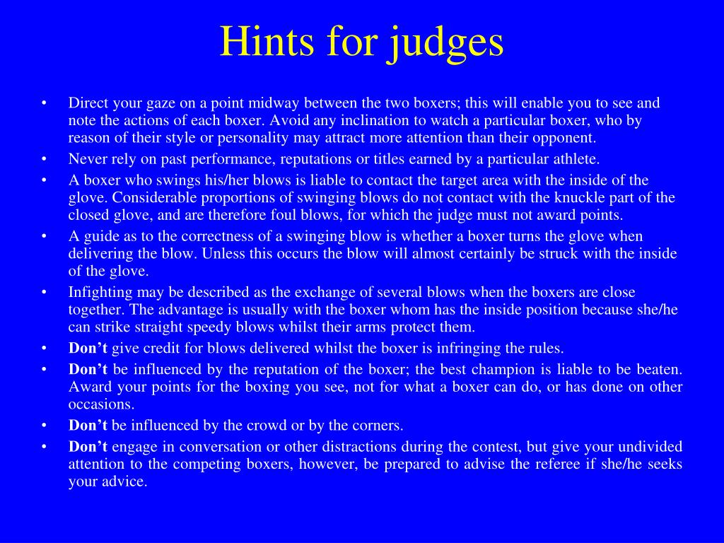 Hints for judges