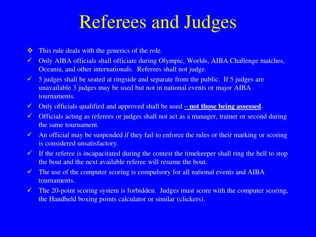 Referees and Judges