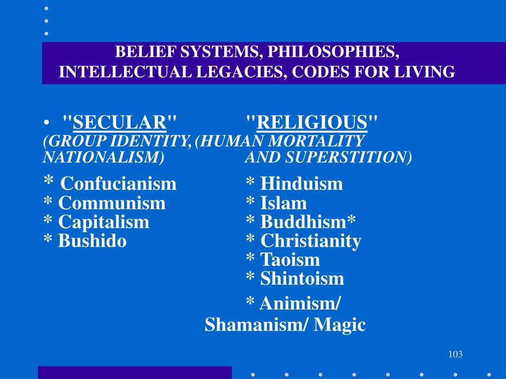 BELIEF SYSTEMS, PHILOSOPHIES, INTELLECTUAL LEGACIES, CODES FOR LIVING