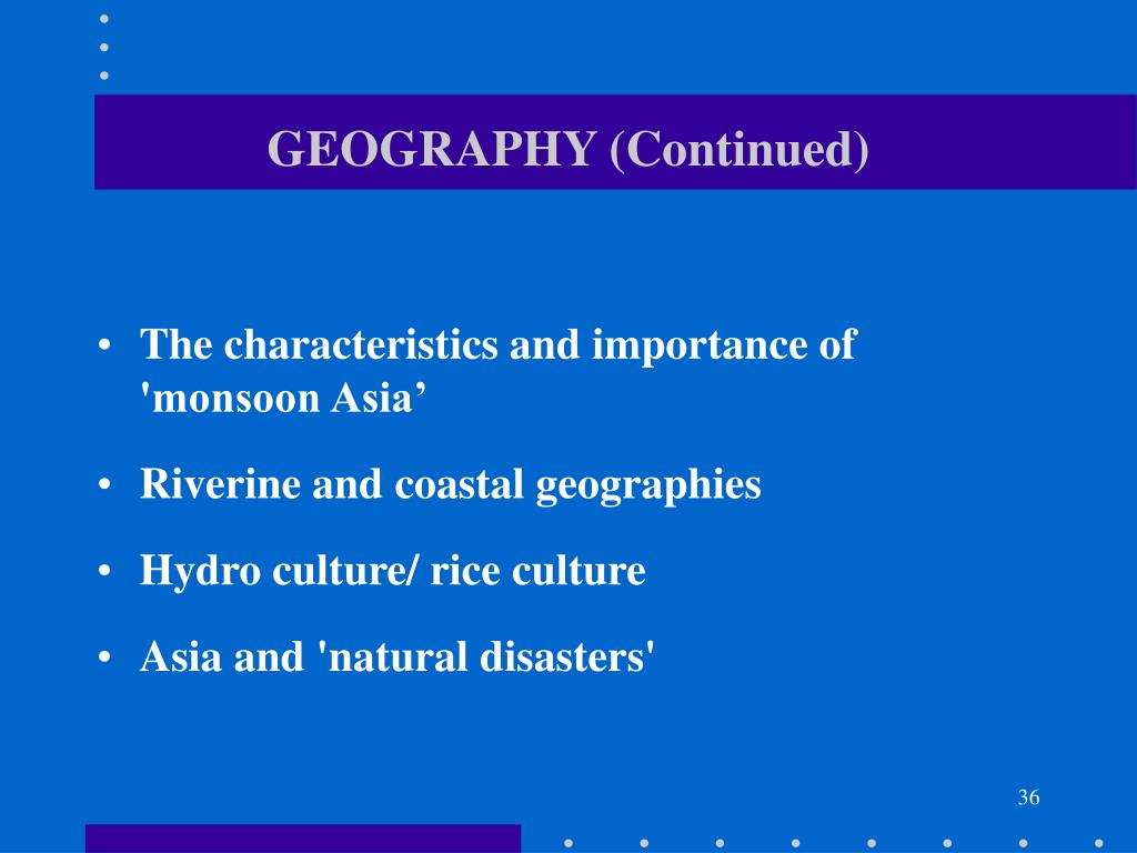 GEOGRAPHY (Continued)