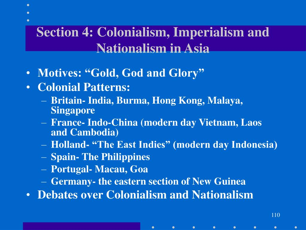 Section 4: Colonialism, Imperialism and Nationalism in Asia