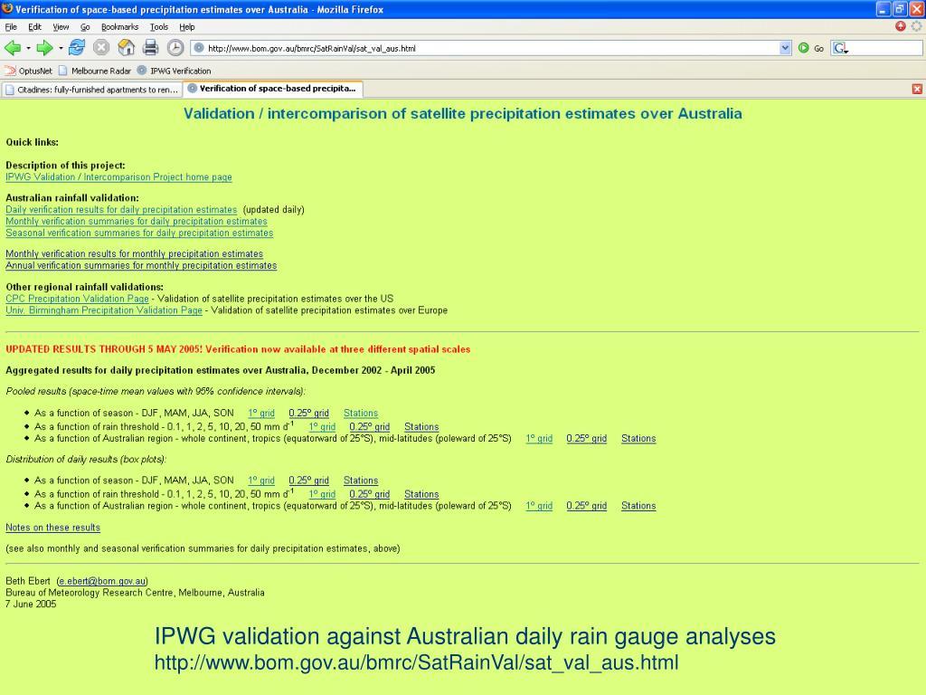 Main web page – Australia