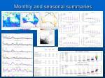 monthly and seasonal summaries