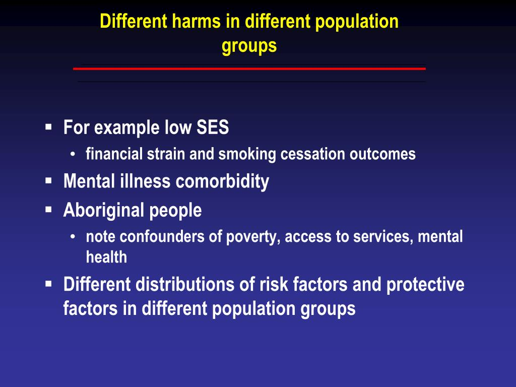 Different harms in different population groups