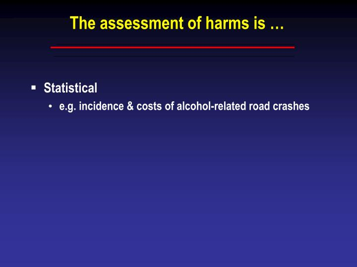 The assessment of harms is
