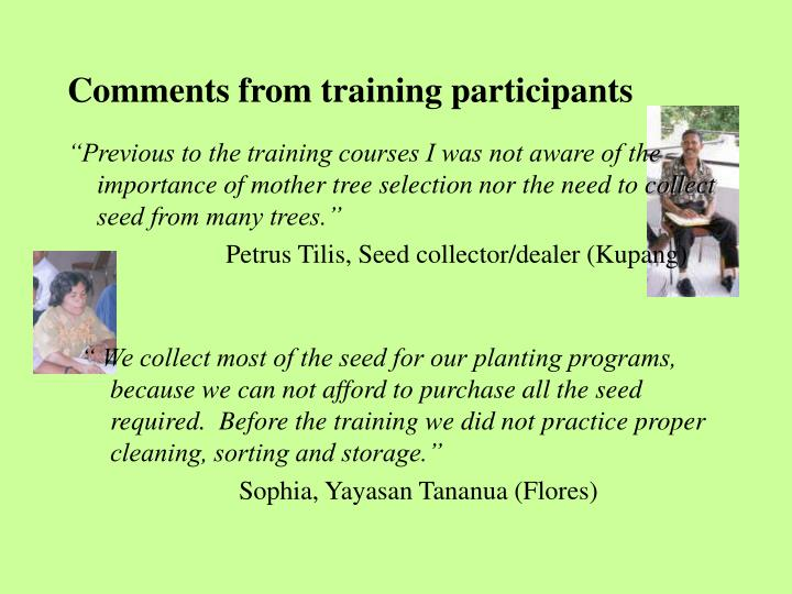 Comments from training participants