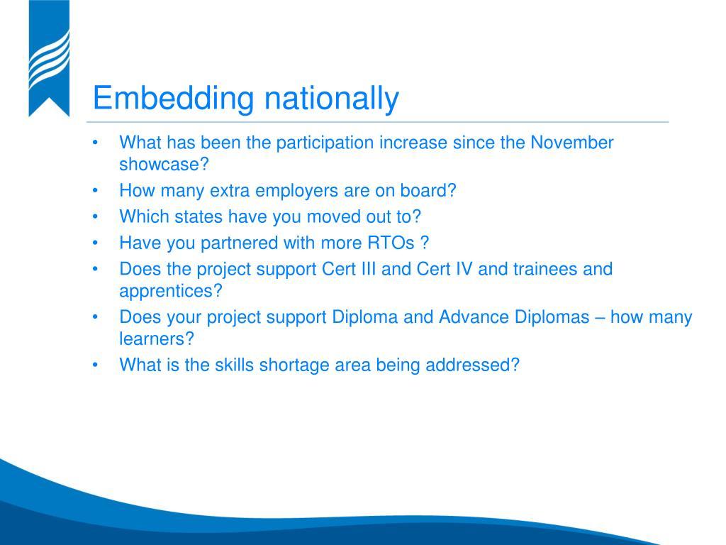 Embedding nationally