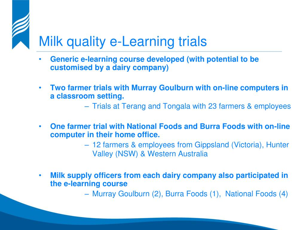 Milk quality e-Learning trials