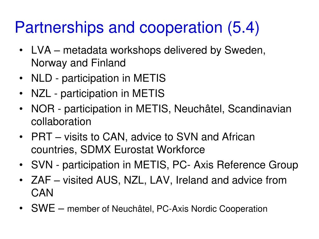 Partnerships and cooperation (5.4)