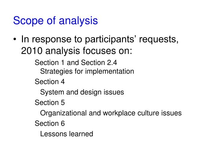 Scope of analysis