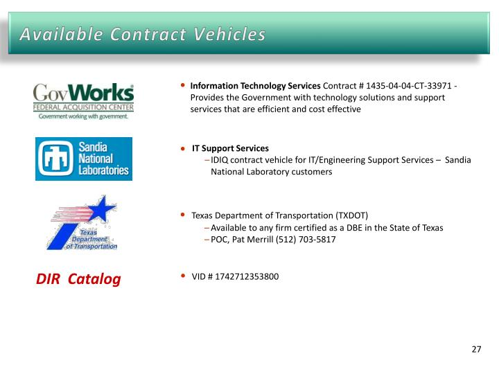 Available Contract Vehicles