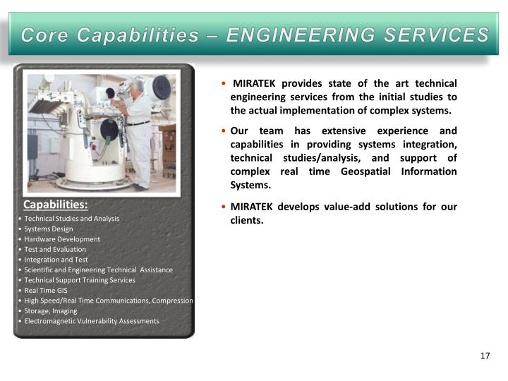 Core Capabilities – ENGINEERING SERVICES
