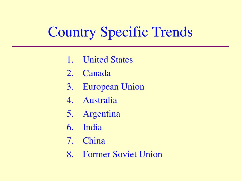 Country Specific Trends