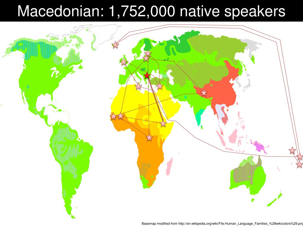 Macedonian: 1,752,000 native speakers