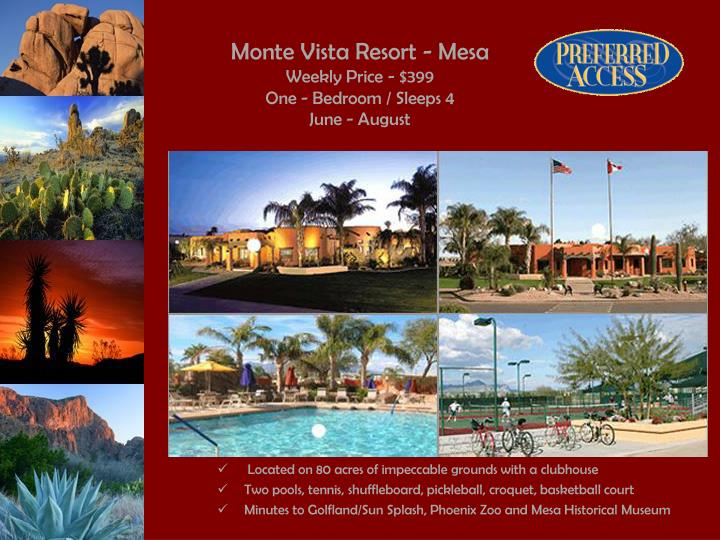 Monte vista resort mesa weekly price 399 one bedroom sleeps 4 june august