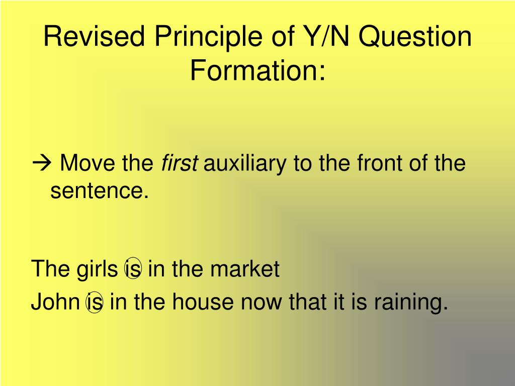 Revised Principle of Y/N Question Formation: