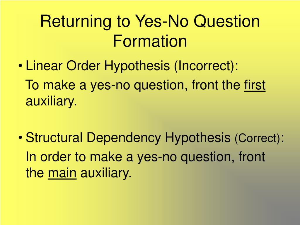 Returning to Yes-No Question Formation