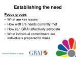 establishing the need13