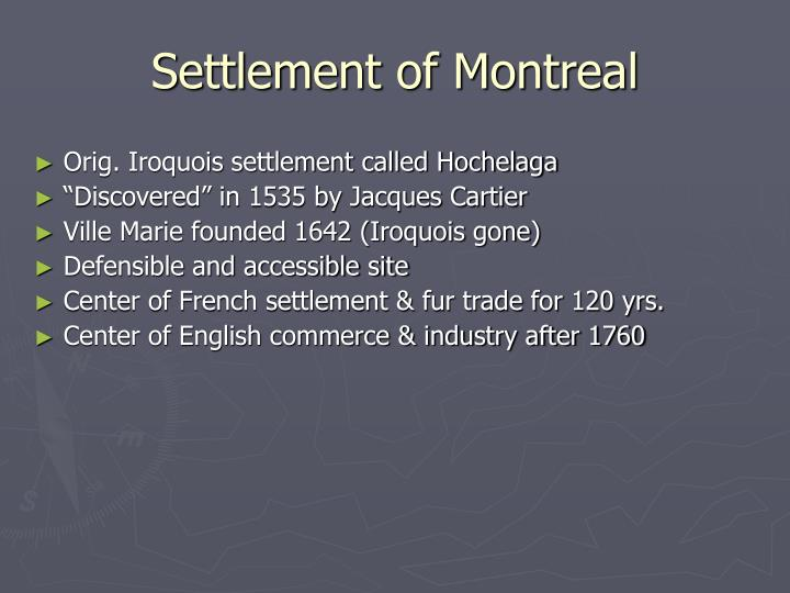 Settlement of montreal