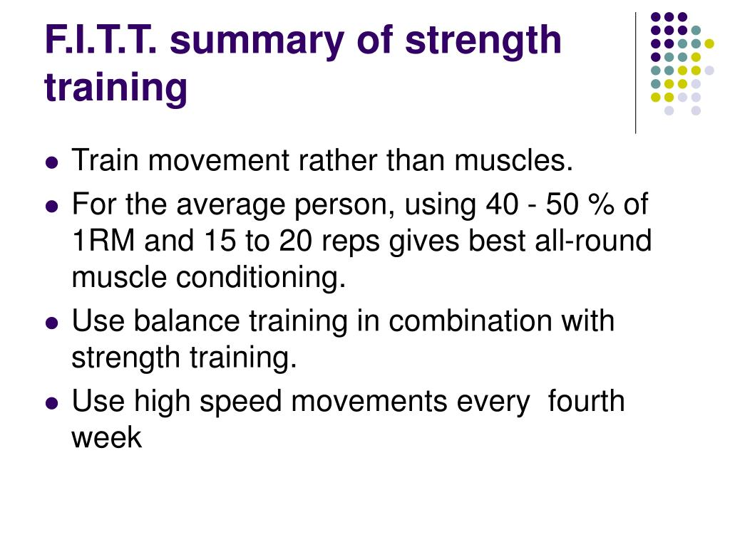 F.I.T.T. summary of strength training