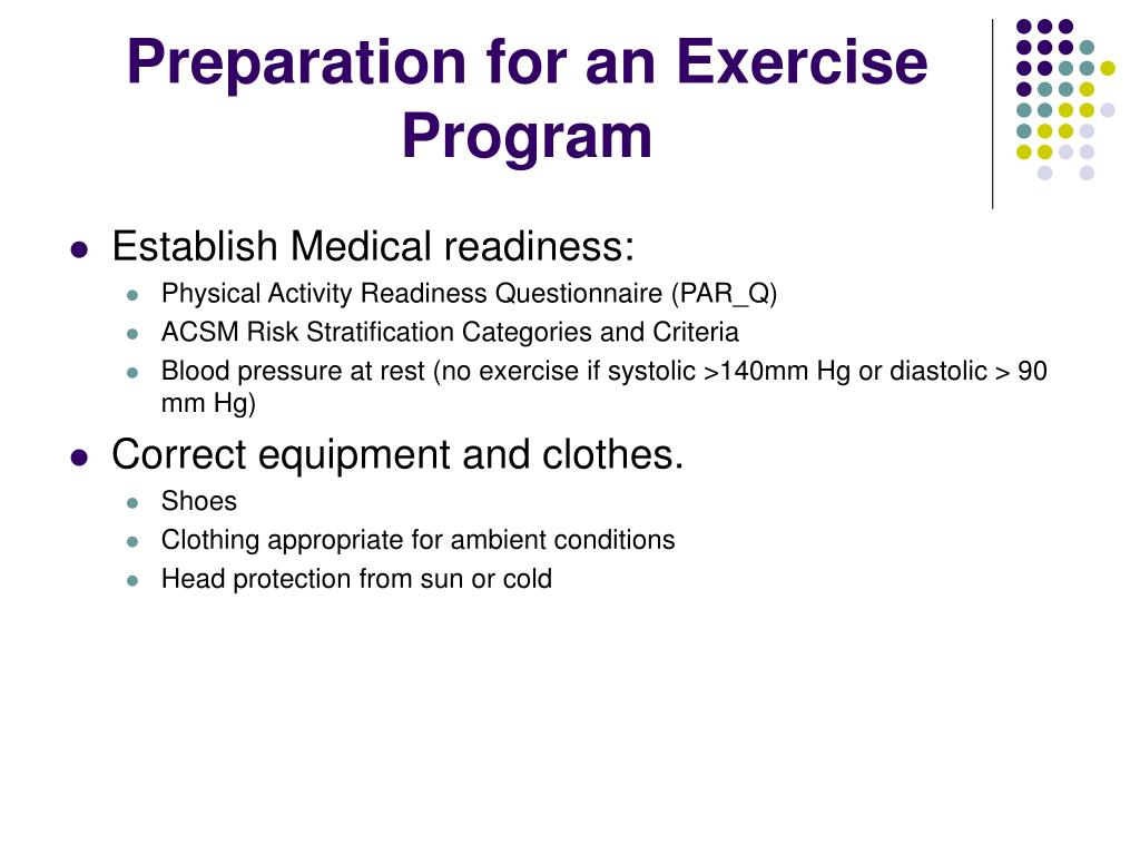 Preparation for an Exercise Program
