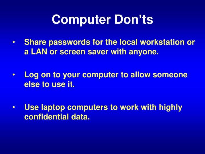 Computer Don'ts