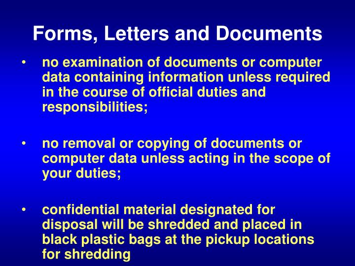 Forms, Letters and Documents