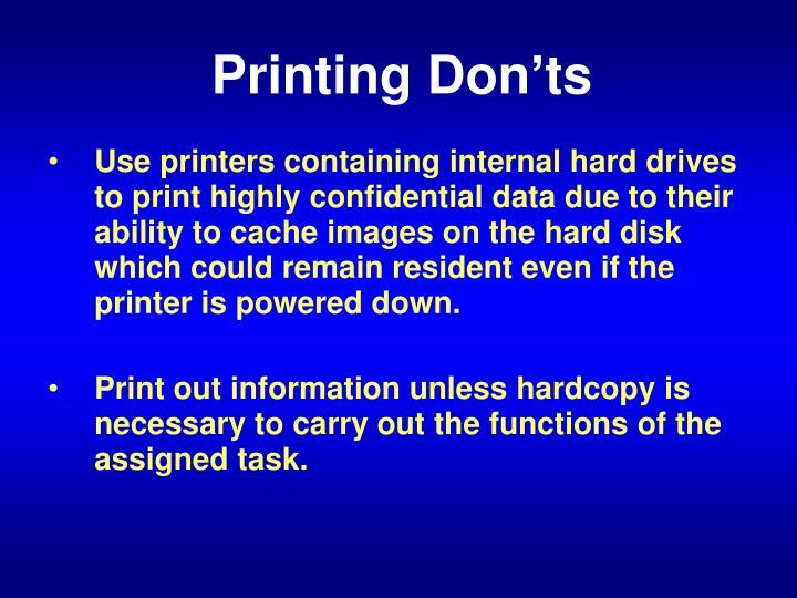 Printing Don'ts