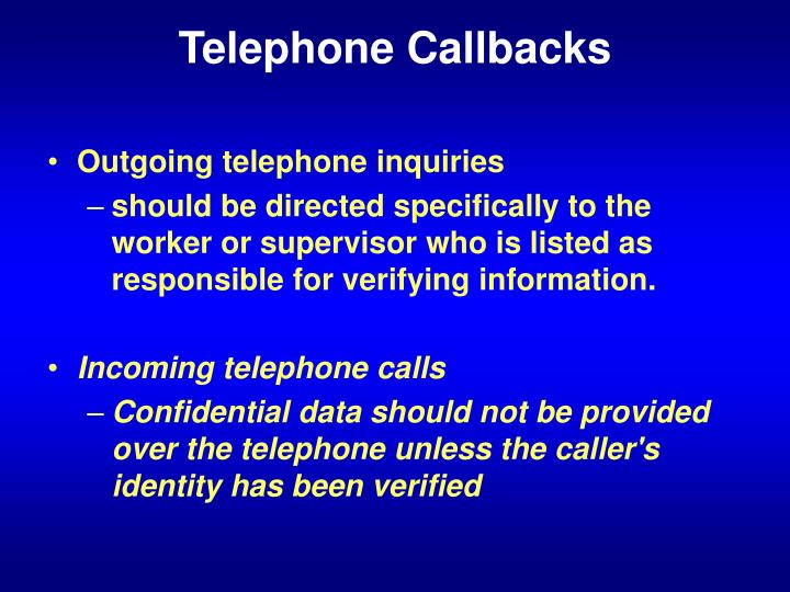 Telephone Callbacks