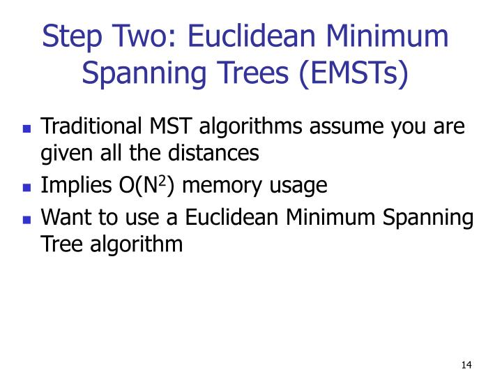 Step Two: Euclidean Minimum Spanning Trees (EMSTs)