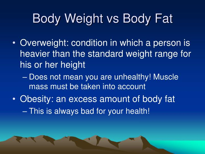 Body Weight vs Body Fat