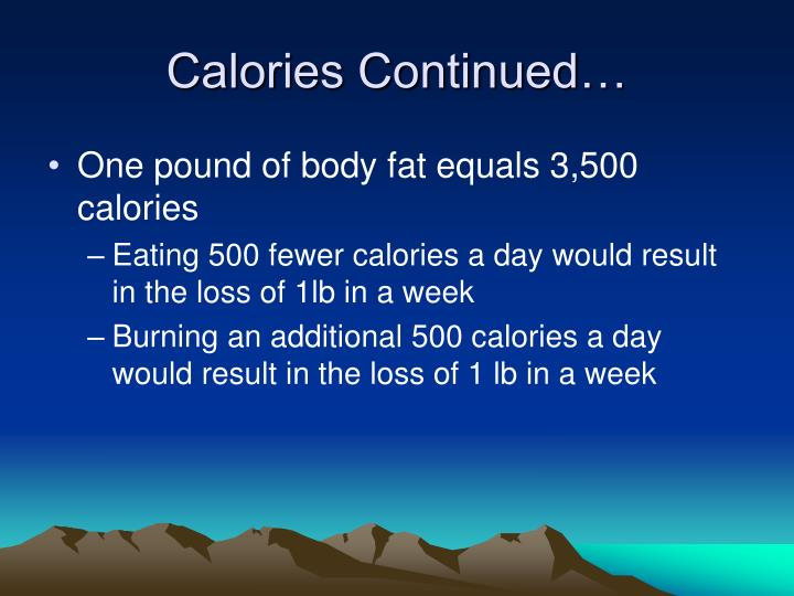 Calories Continued…