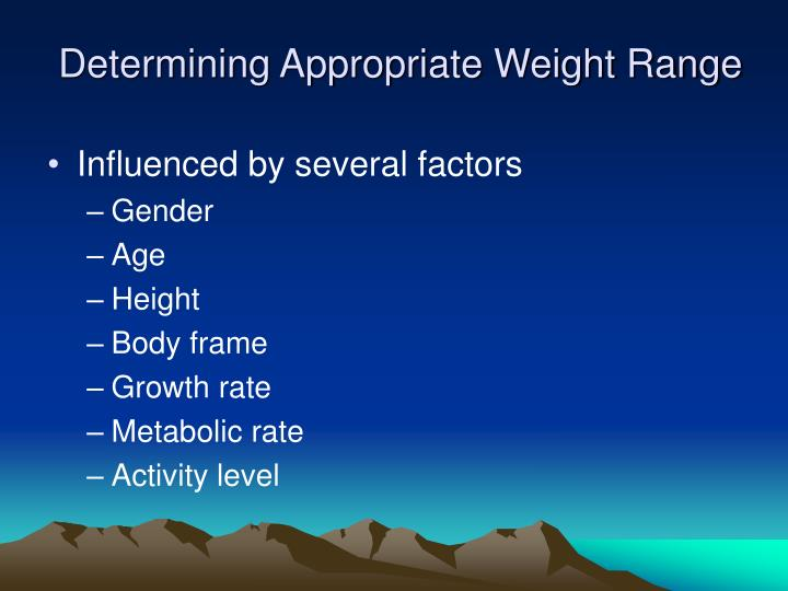 Determining Appropriate Weight Range
