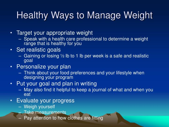 Healthy Ways to Manage Weight