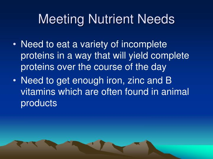 Meeting Nutrient Needs
