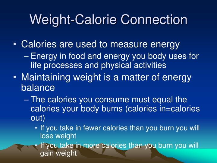 Weight-Calorie Connection
