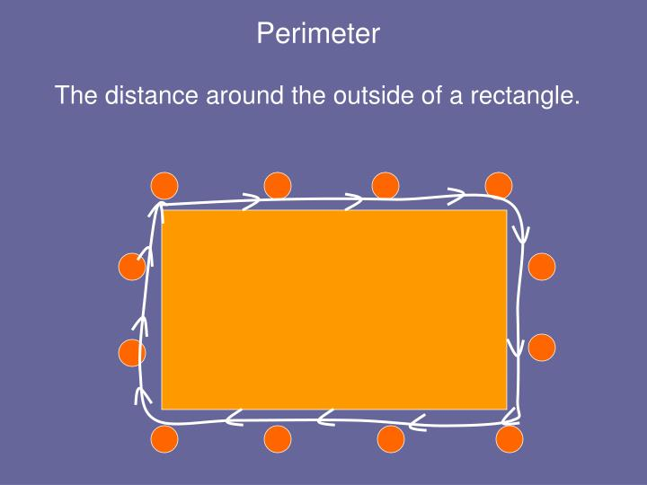 The distance around the outside of a rectangle.